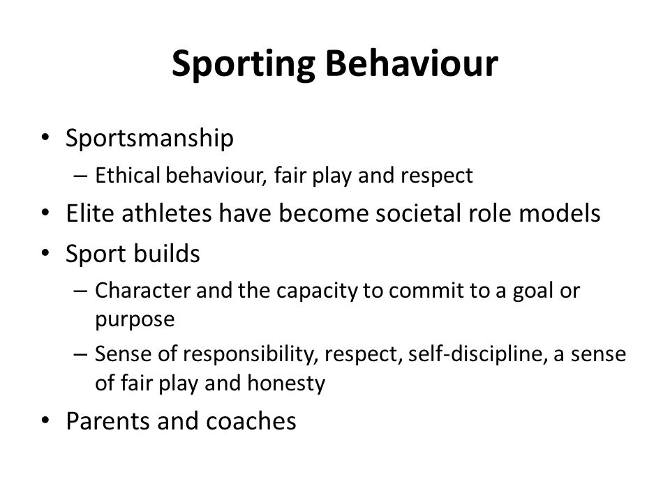 Sporting Behaviour Sportsmanship