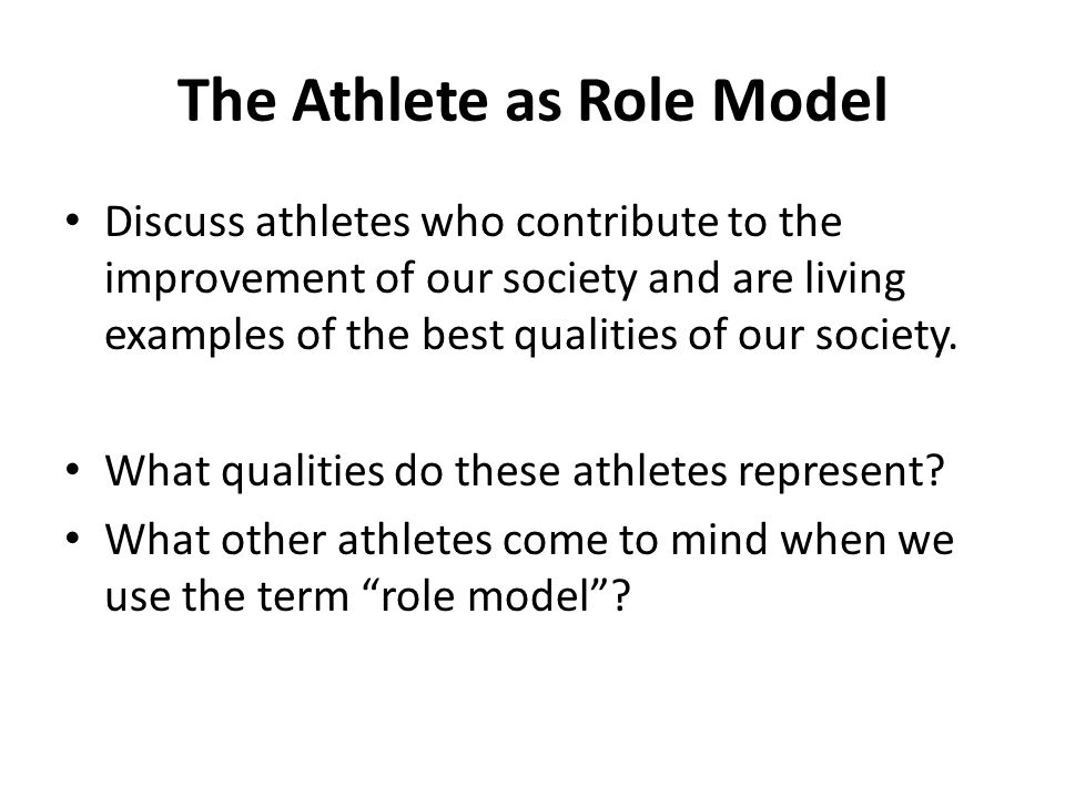 The Athlete as Role Model
