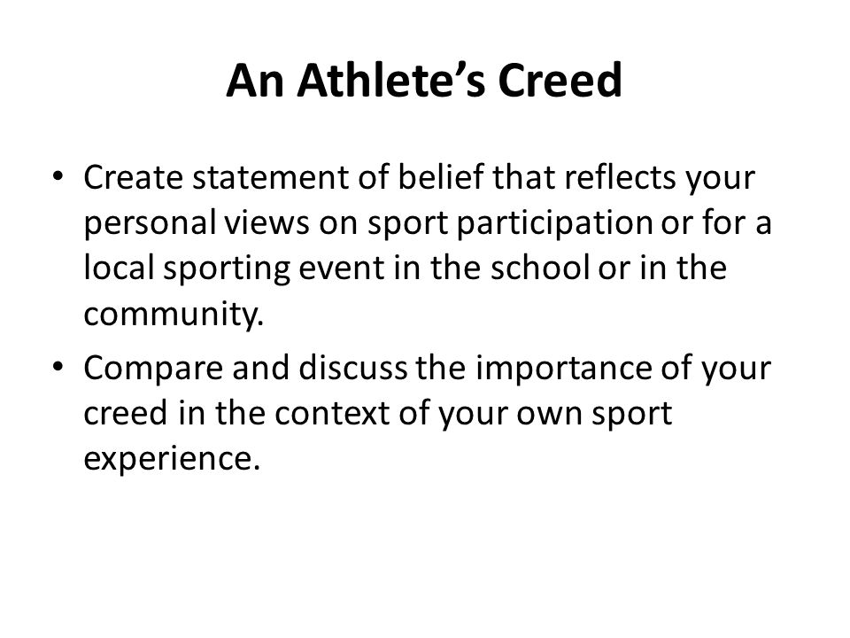 An Athlete's Creed