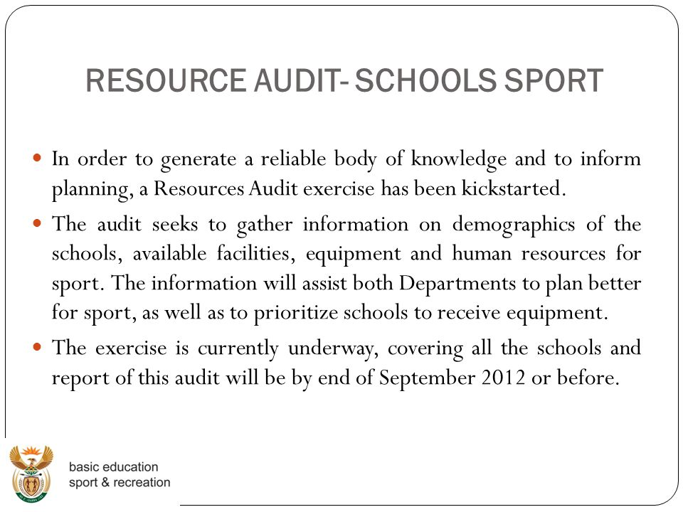 RESOURCE AUDIT- SCHOOLS SPORT