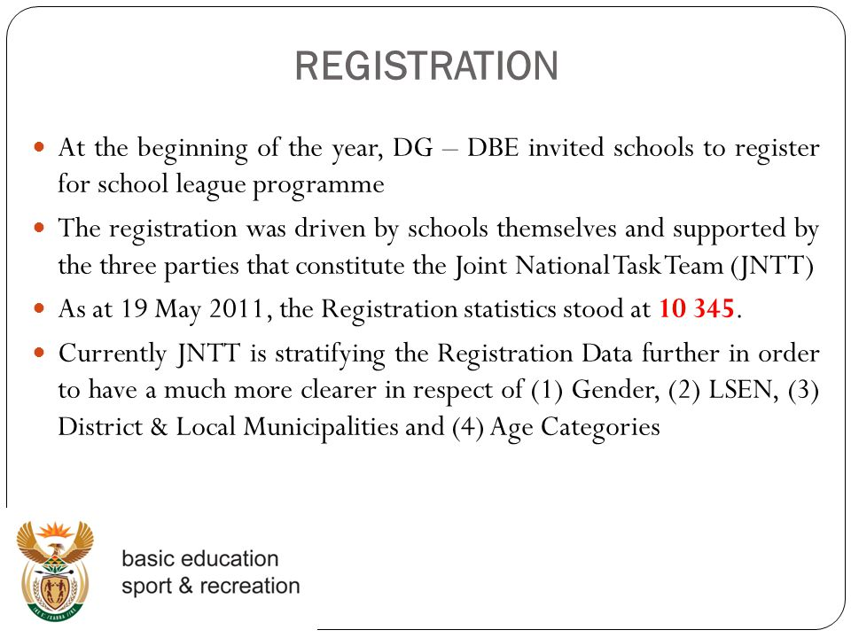 REGISTRATION At the beginning of the year, DG – DBE invited schools to register for school league programme.