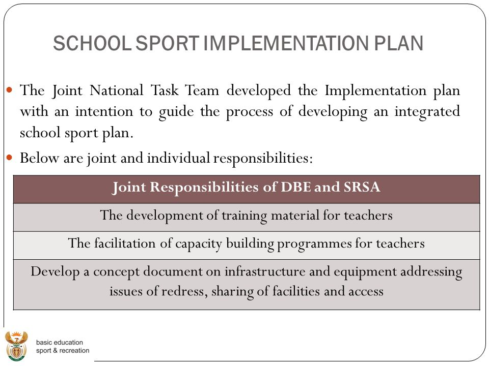 SCHOOL SPORT IMPLEMENTATION PLAN