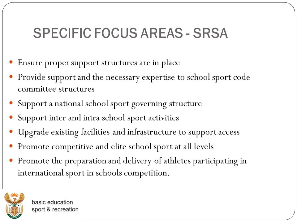 SPECIFIC FOCUS AREAS - SRSA