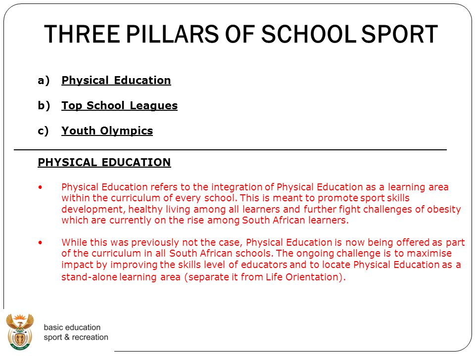 THREE PILLARS OF SCHOOL SPORT