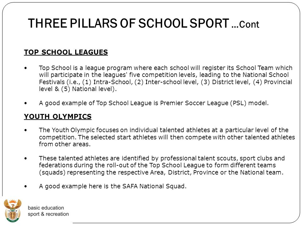 THREE PILLARS OF SCHOOL SPORT …Cont