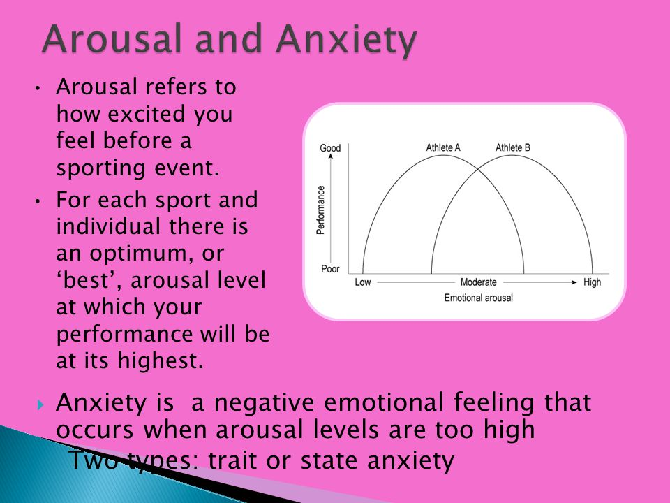 Arousal and Anxiety Arousal refers to how excited you feel before a sporting event.