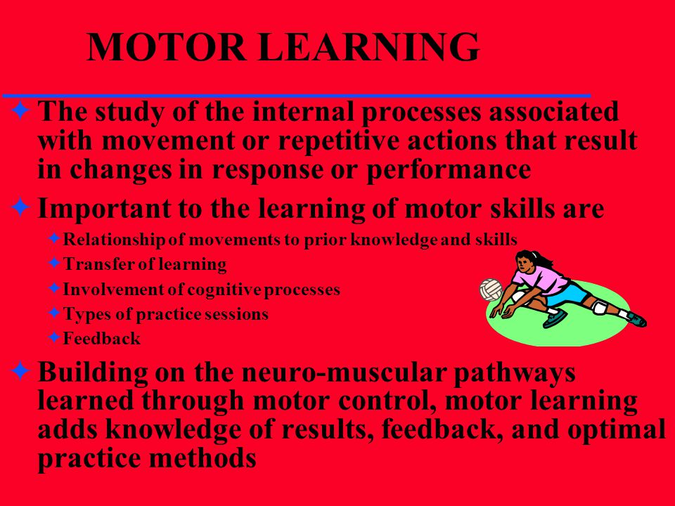 MOTOR LEARNING The study of the internal processes associated with movement or repetitive actions that result in changes in response or performance.