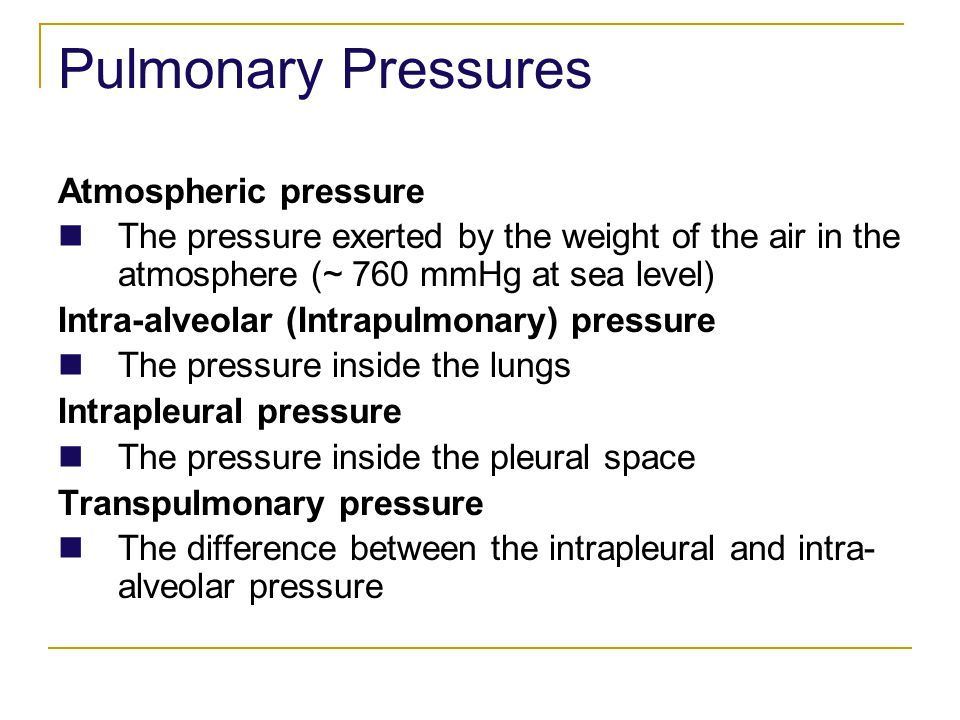 Pulmonary Pressures Atmospheric pressure