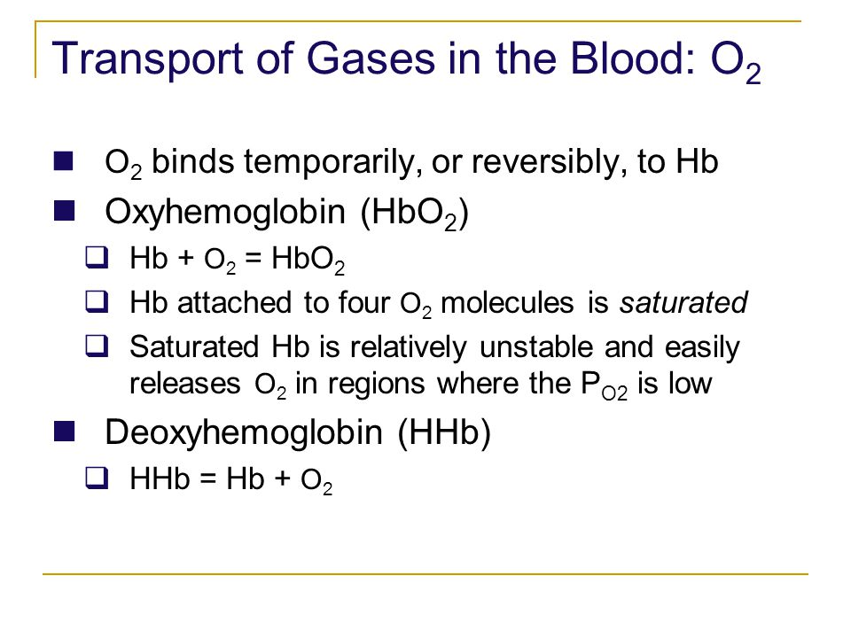 Transport of Gases in the Blood: O2
