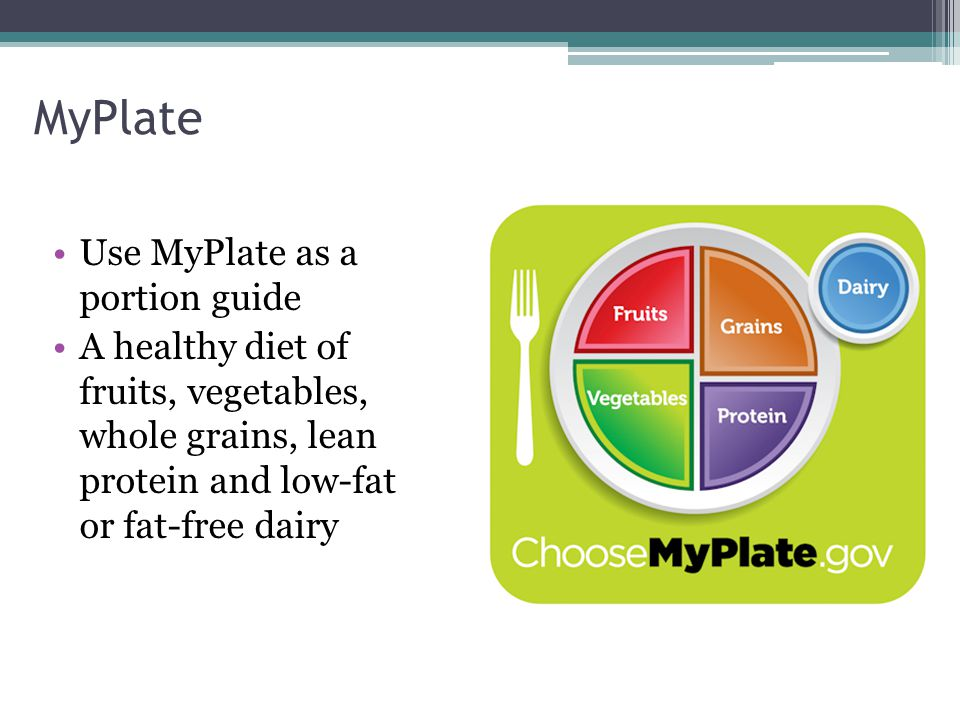 MyPlate Use MyPlate as a portion guide