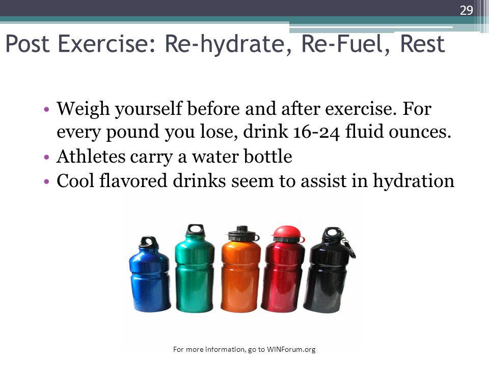 Post Exercise: Re-hydrate, Re-Fuel, Rest
