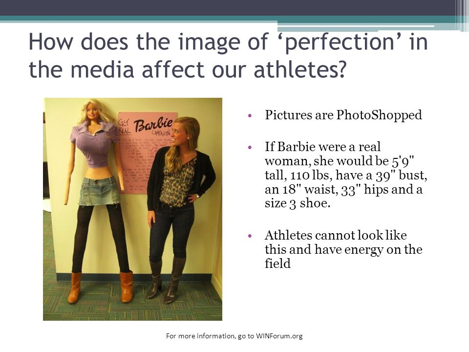 How does the image of 'perfection' in the media affect our athletes