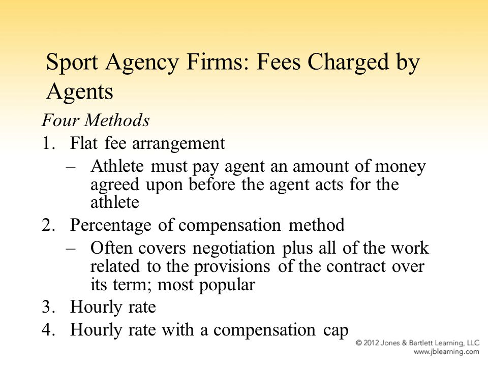 Sport Agency Firms: Fees Charged by Agents