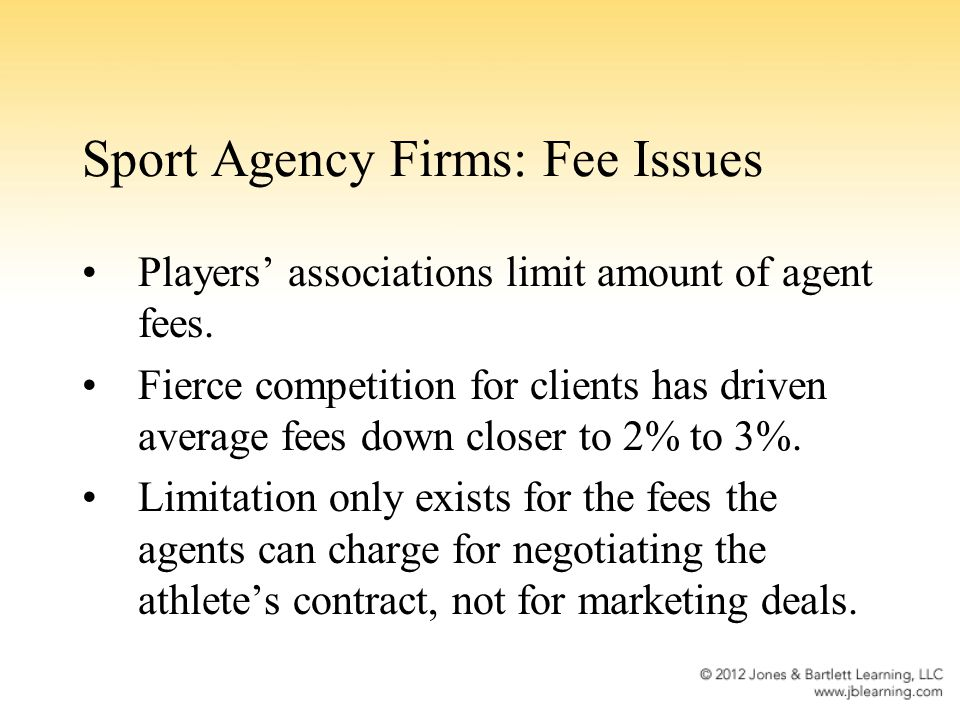 Sport Agency Firms: Fee Issues