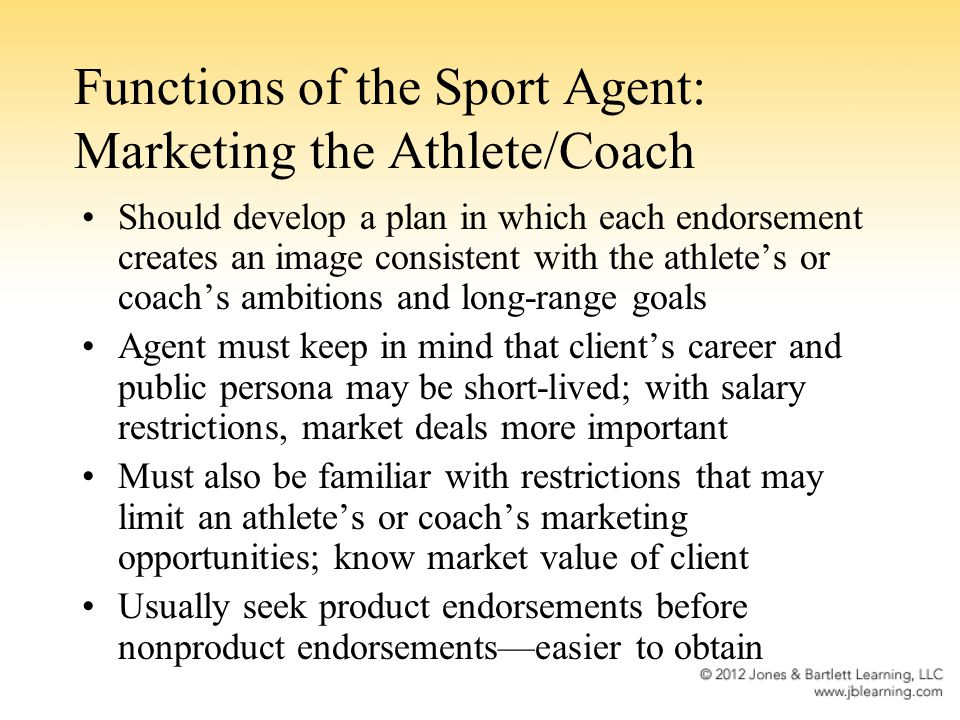 Functions of the Sport Agent: Marketing the Athlete/Coach