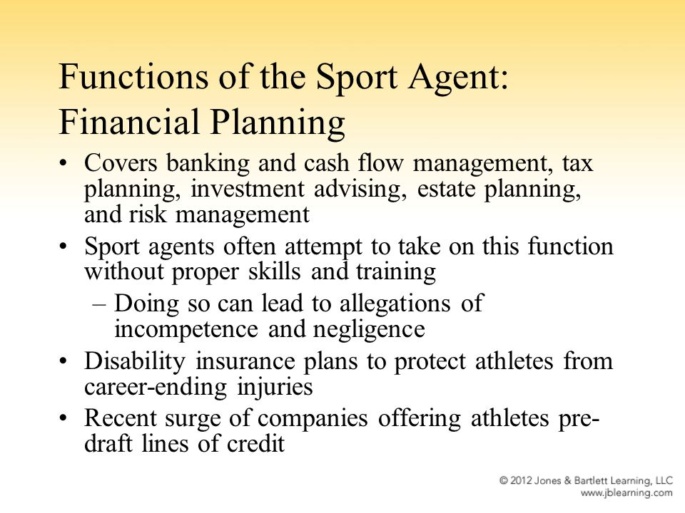 Functions of the Sport Agent: Financial Planning