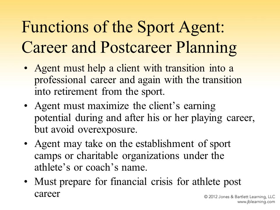 Functions of the Sport Agent: Career and Postcareer Planning