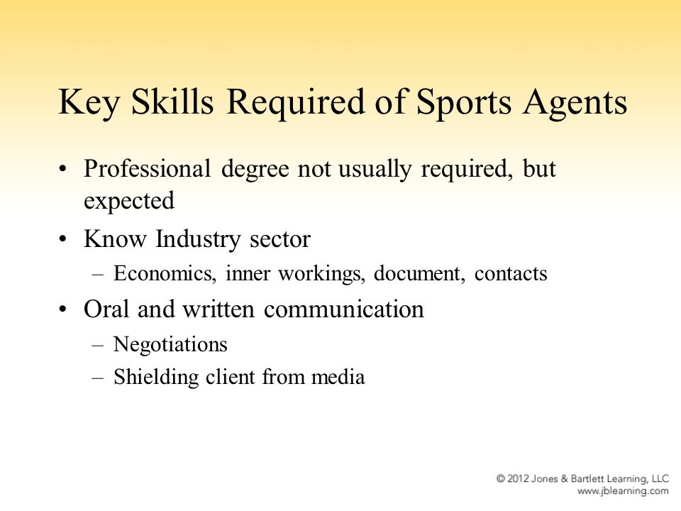 Key Skills Required of Sports Agents