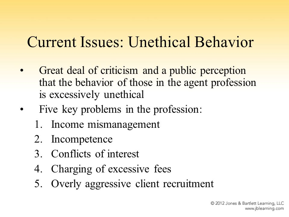 Current Issues: Unethical Behavior