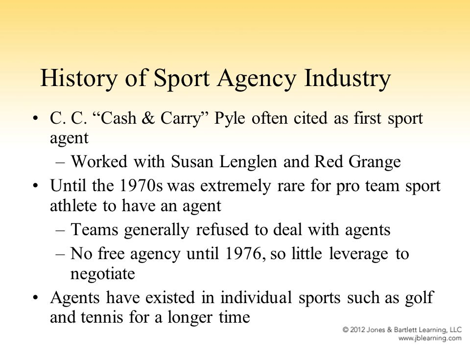 History of Sport Agency Industry