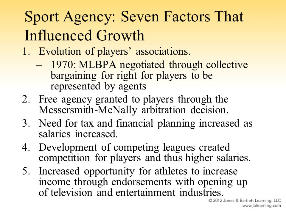 Sport Agency: Seven Factors That Influenced Growth
