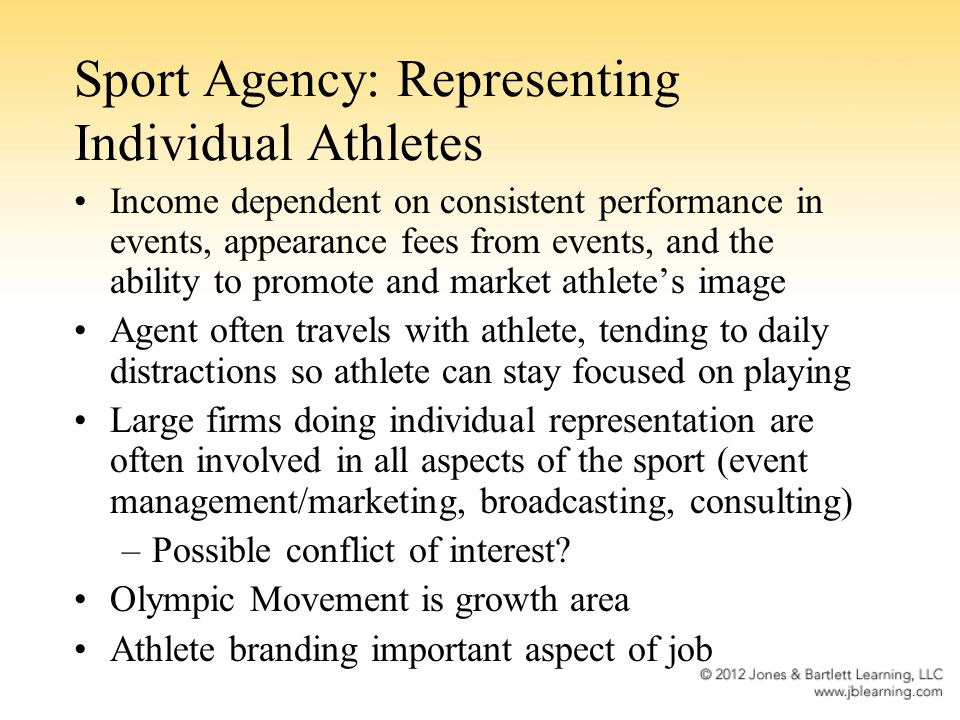 Sport Agency: Representing Individual Athletes