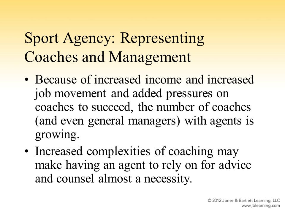 Sport Agency: Representing Coaches and Management