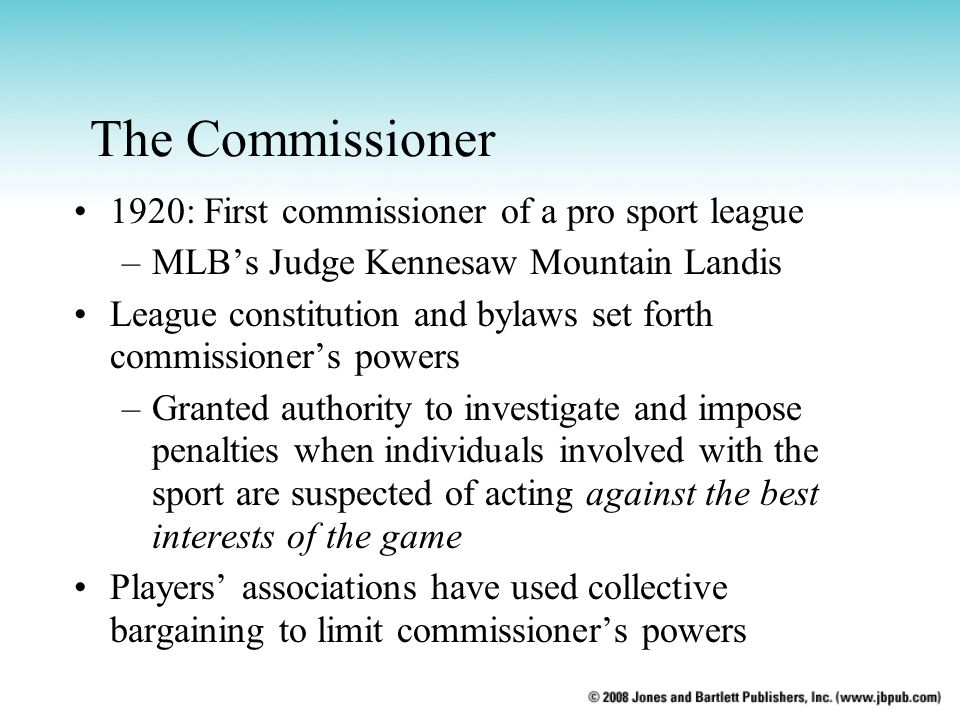The Commissioner 1920: First commissioner of a pro sport league