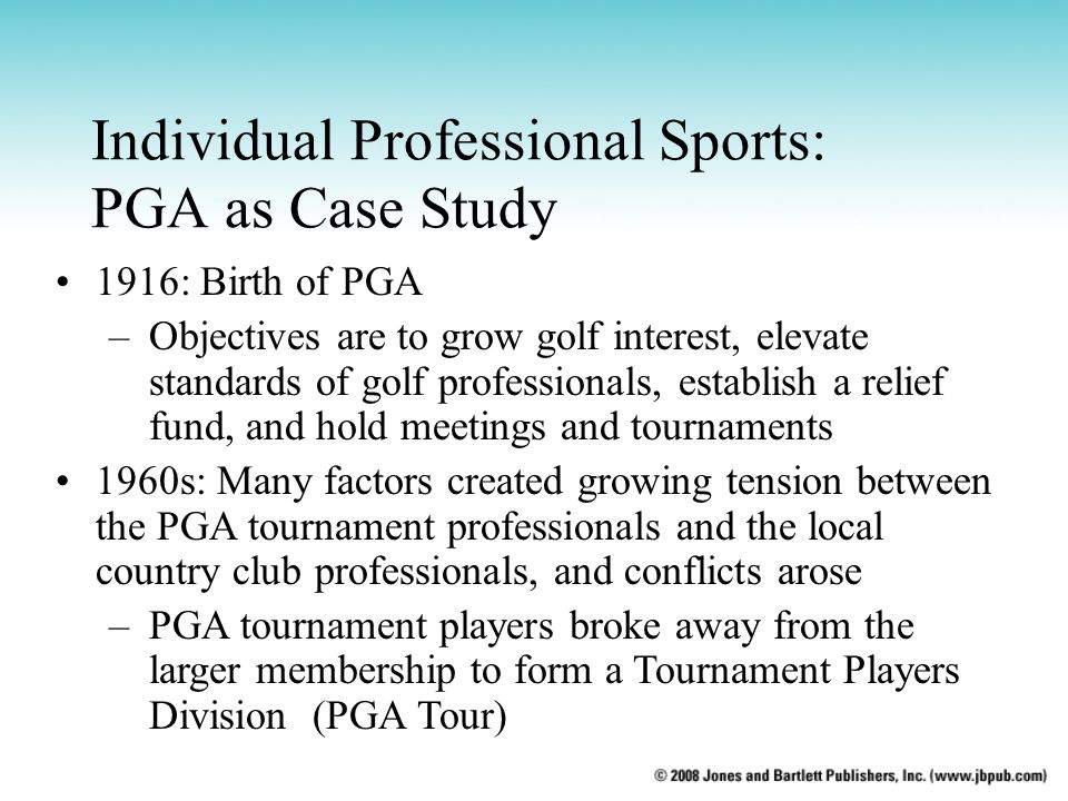Individual Professional Sports: PGA as Case Study