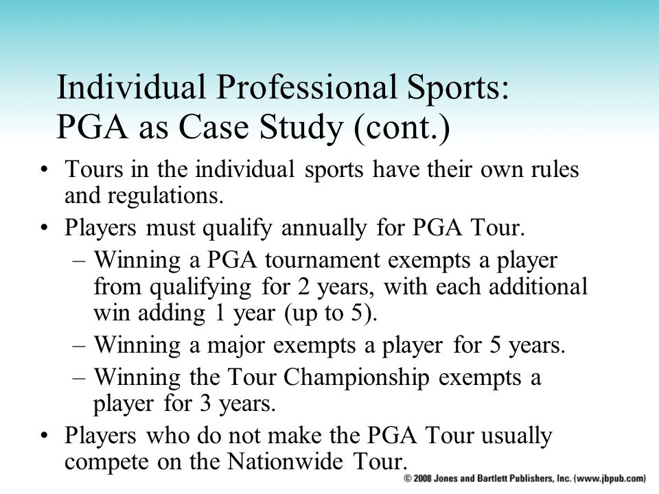 Individual Professional Sports: PGA as Case Study (cont.)