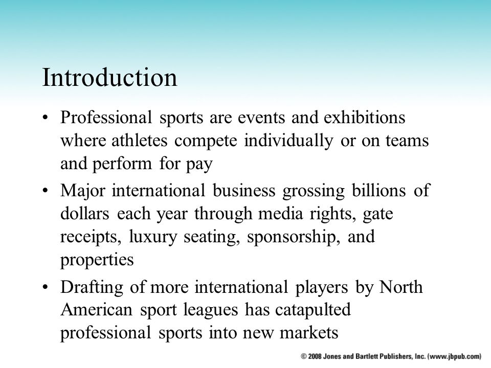 Introduction Professional sports are events and exhibitions where athletes compete individually or on teams and perform for pay.