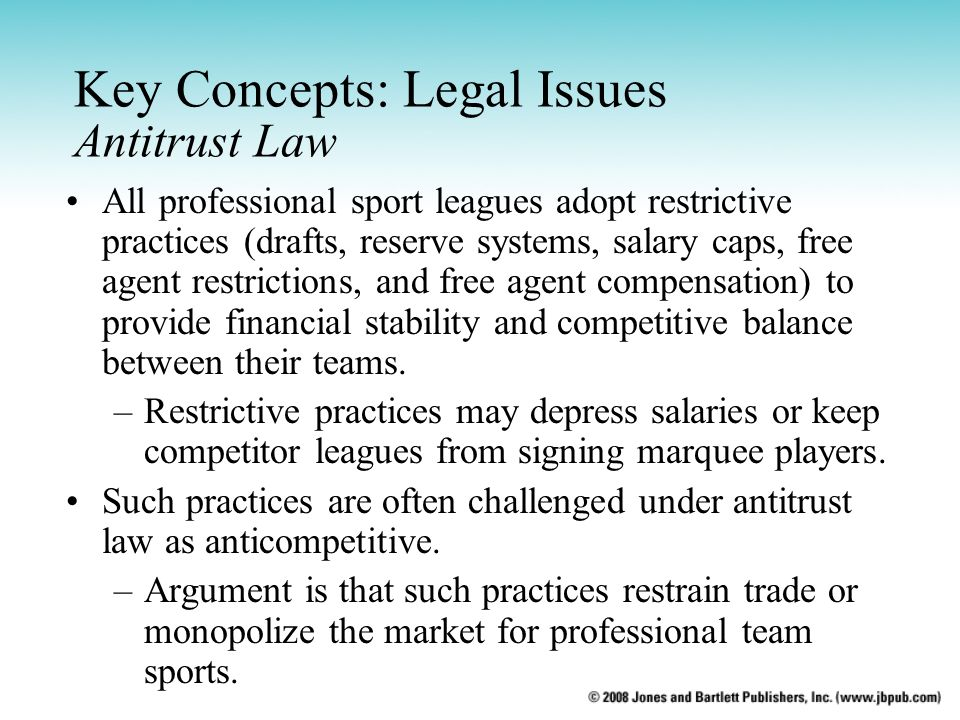 Key Concepts: Legal Issues Antitrust Law