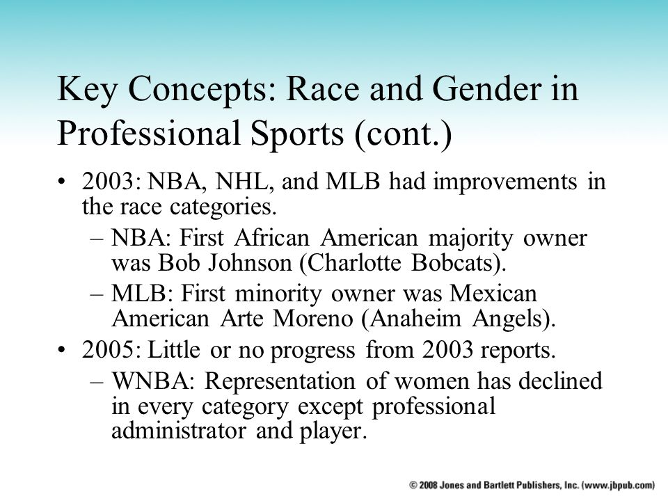 Key Concepts: Race and Gender in Professional Sports (cont.)