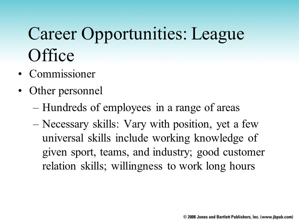 Career Opportunities: League Office