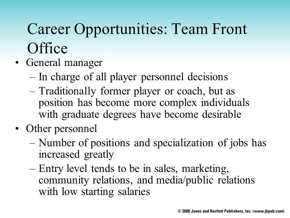 Career Opportunities: Team Front Office