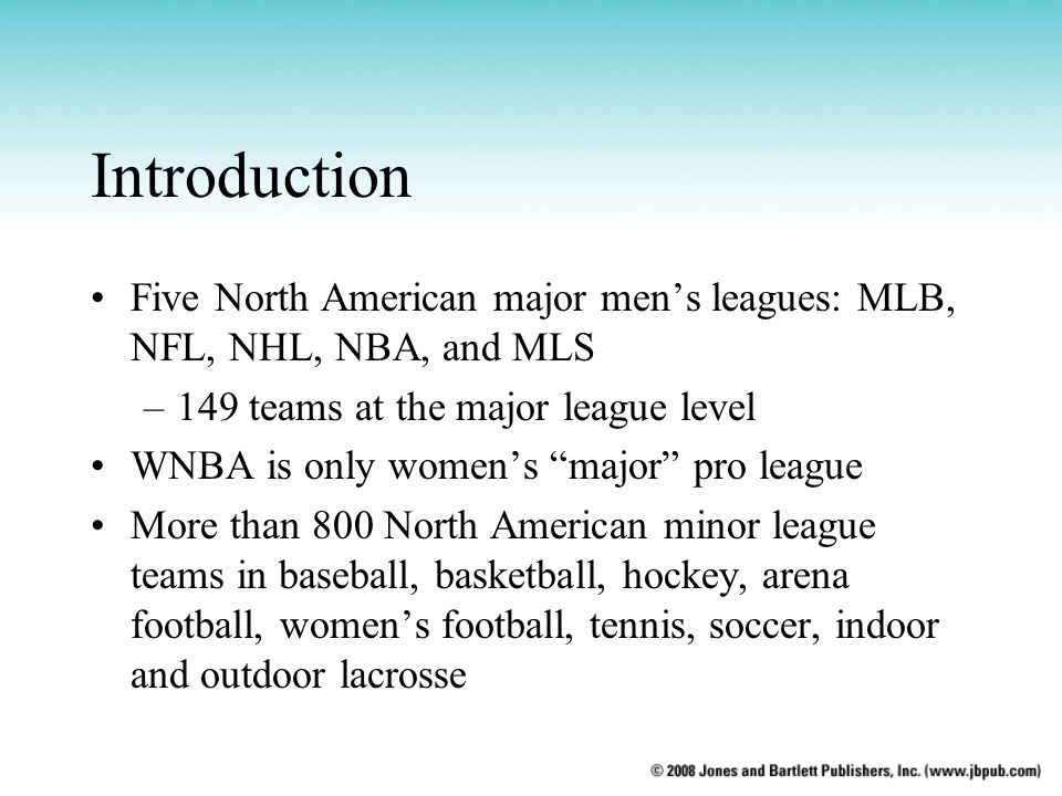 Introduction Five North American major men's leagues: MLB, NFL, NHL, NBA, and MLS. 149 teams at the major league level.