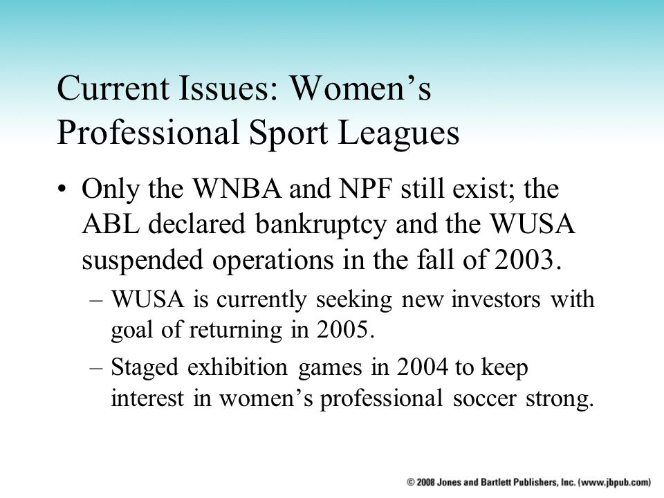 Current Issues: Women's Professional Sport Leagues