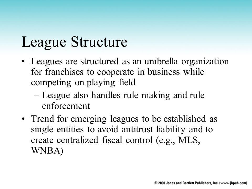 League Structure Leagues are structured as an umbrella organization for franchises to cooperate in business while competing on playing field.