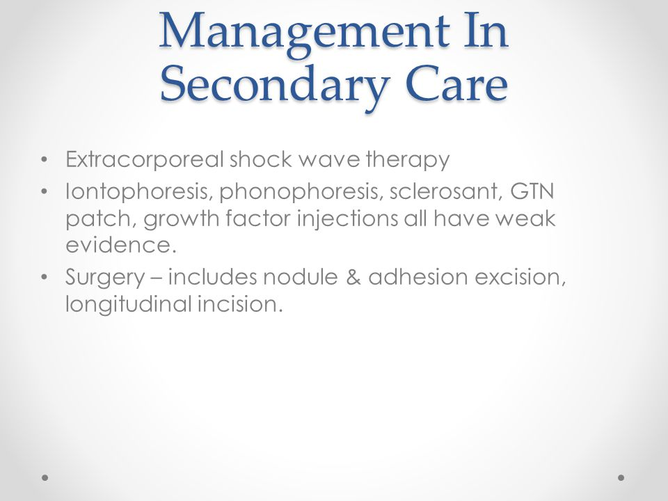 Management In Secondary Care