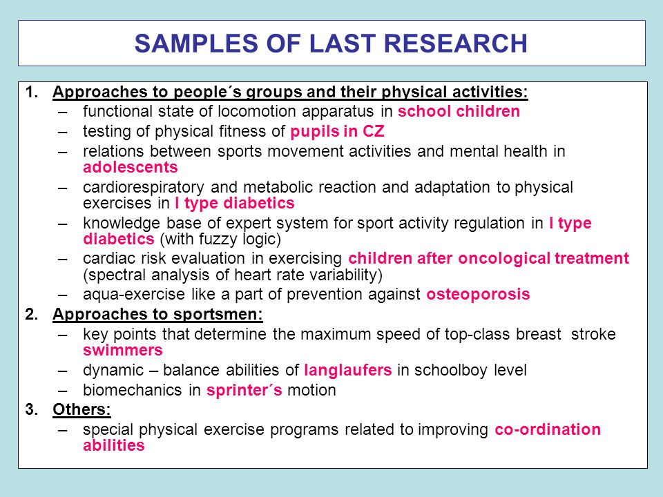 SAMPLES OF LAST RESEARCH