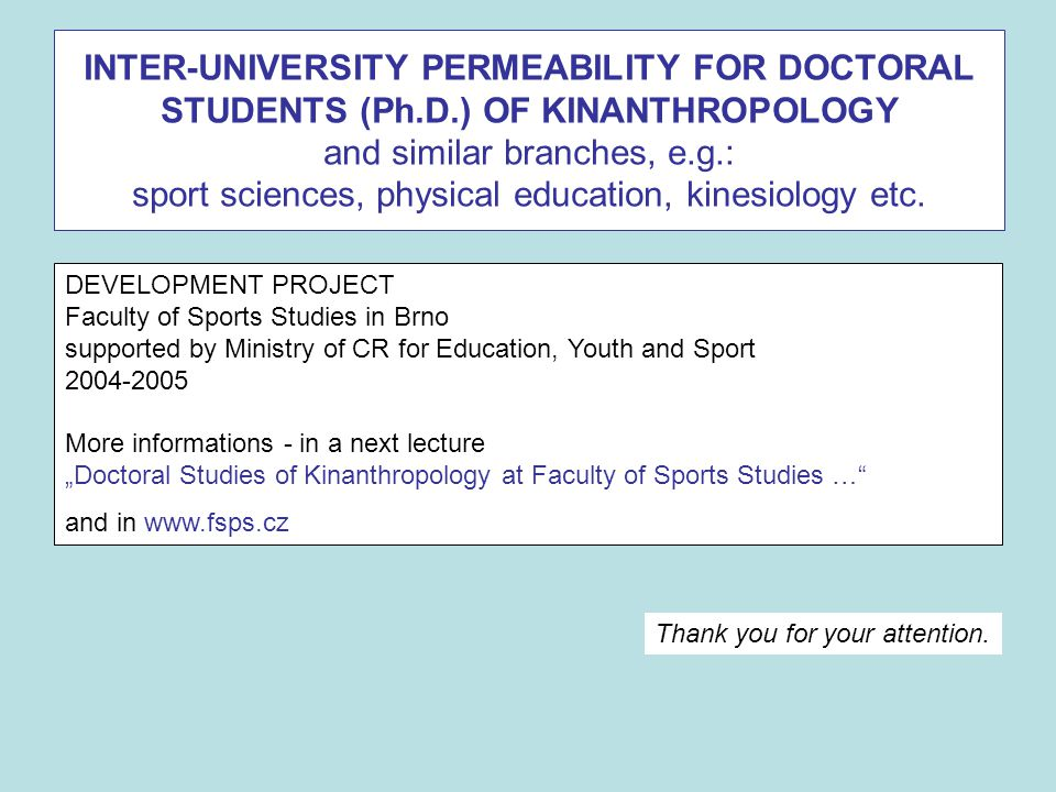 INTER-UNIVERSITY PERMEABILITY FOR DOCTORAL STUDENTS (Ph. D