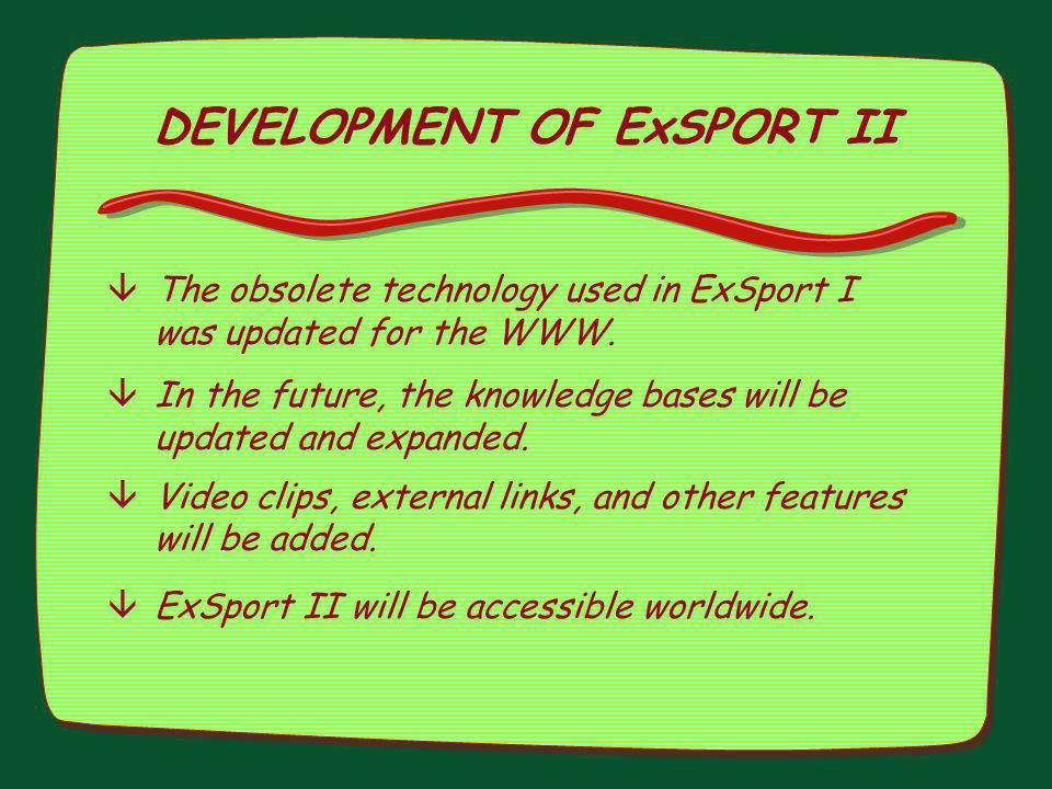 DEVELOPMENT OF ExSPORT II