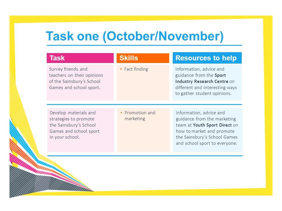 Task one (October/November)