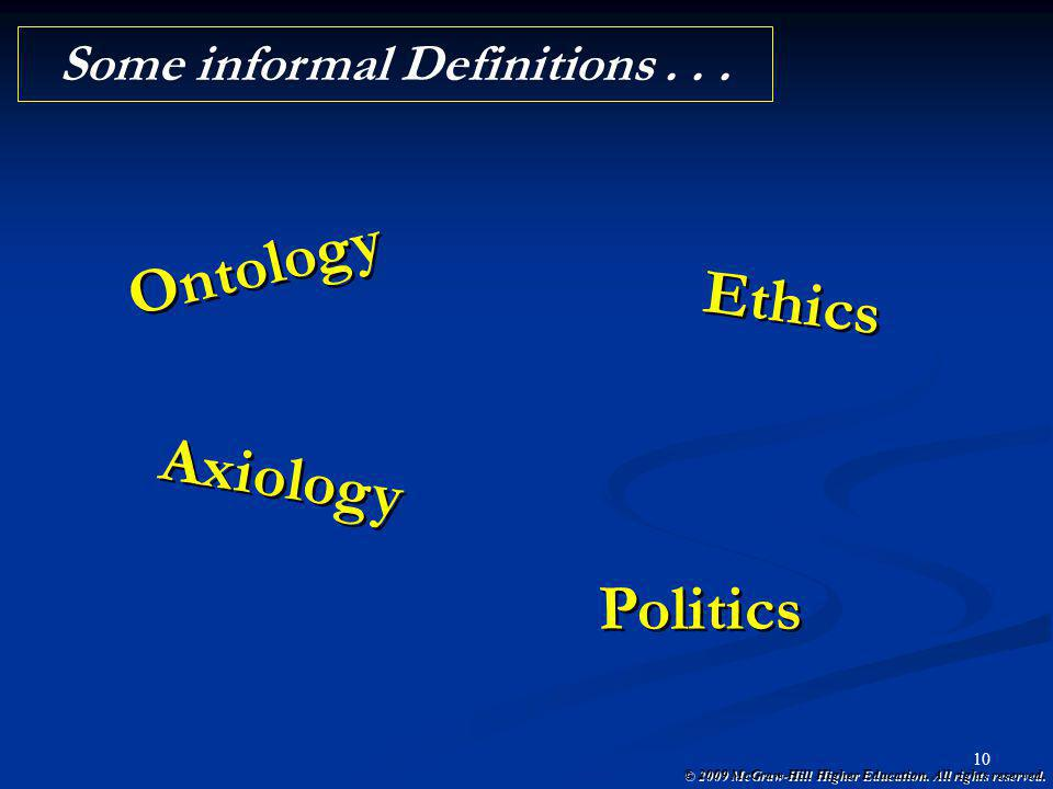 Some informal Definitions . . .