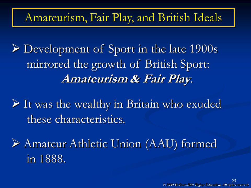 Amateurism, Fair Play, and British Ideals