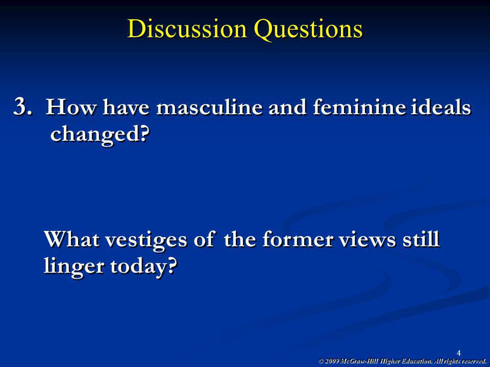 Discussion Questions How have masculine and feminine ideals changed