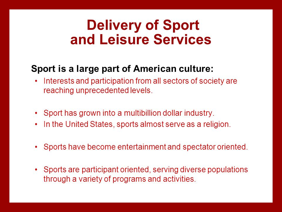 Delivery of Sport and Leisure Services