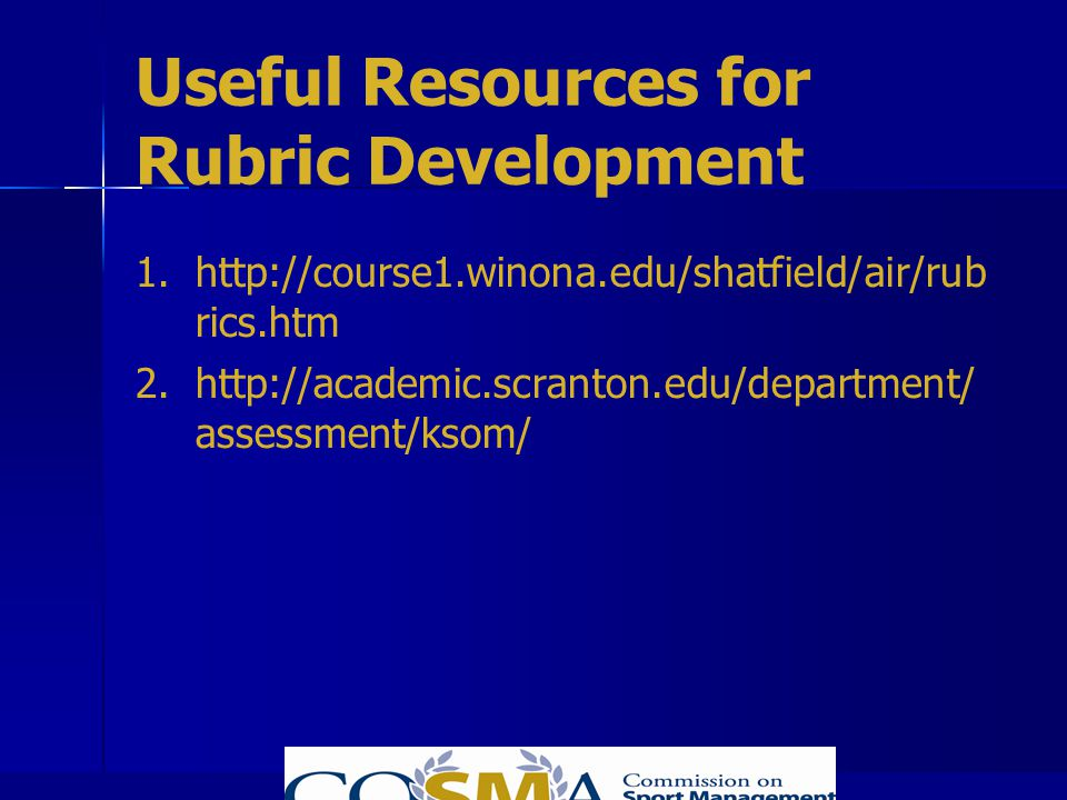 Useful Resources for Rubric Development