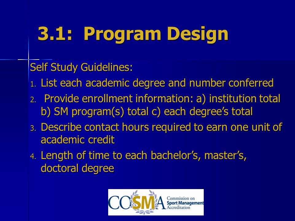 3.1: Program Design Self Study Guidelines: