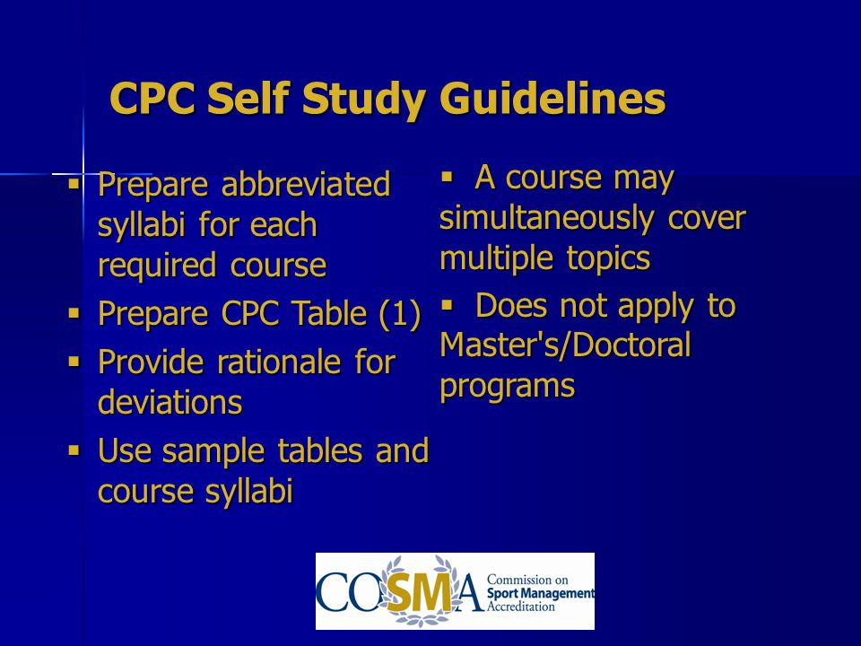 CPC Self Study Guidelines